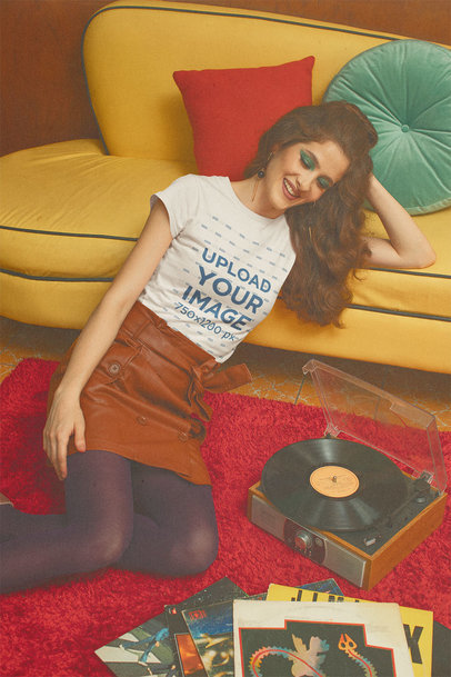 Retro Styled T-Shirt Mockup Featuring a Woman Listening to Music in Her Living Room m10530