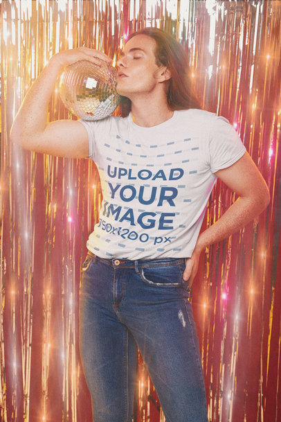 T-Shirt Mockup of a Long-Haired Man Posing with a Disco Ball  m10148