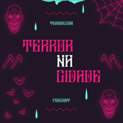 Horror-Themed Podcast Cover Generator With Neon Graphics 4429c