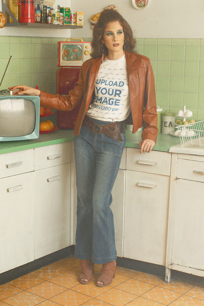 T-Shirt Mockup Featuring a Serious Woman in a Retro Outfit Posing in the Kitchen m10534