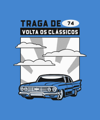 Illustrated T-Shirt Design Template for Classic Cars Enthusiasts 4096b-el1