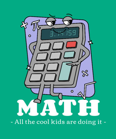 T-Shirt Design Template with a Cartoonish Calculator Graphic 3792a