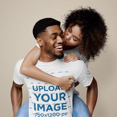 Basic T-Shirt Mockup Featuring a Happy Couple at a Studio 42897-r-el2
