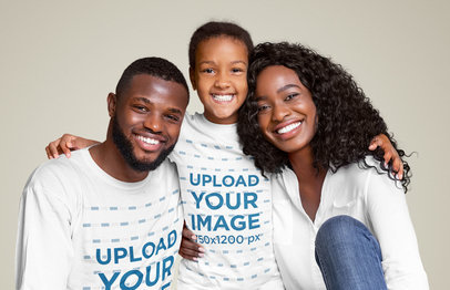 T-Shirt and Long Sleeve Tee of a Family in a Studio 46031-r-el2