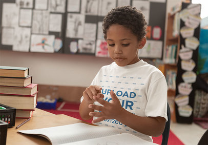 T-Shirt Mockup Featuring a Serious Boy at School 41925-r-el2
