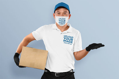 Mockup of a Delivery Man Wearing a Face Mask and a Polo Shirt 44199-r-el2