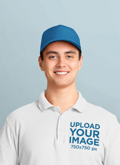 Polo Shirt Mockup Featuring a Smiling Worker 44217-r-el2