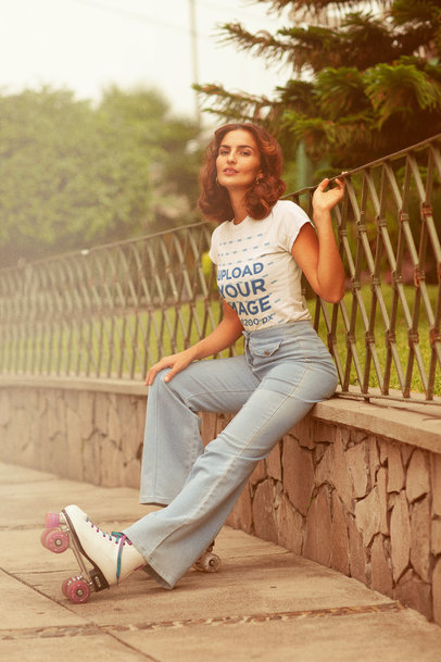 T-Shirt Mockup Featuring a Woman in a Retro Outfit Wearing Roller Skates m10132