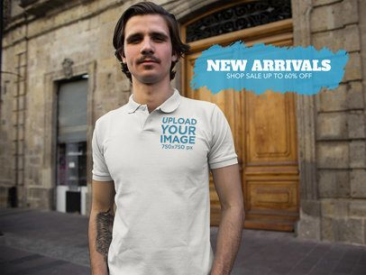 Twitter Ad - White Guy Wearing a Polo Shirt While in the Street a15375