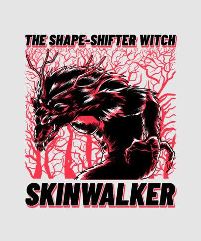 T-Shirt Design Template Featuring an Aggressive Werewolf Illustration 3809h