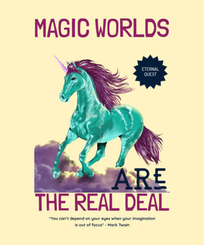 Quote T-Shirt Design Template Featuring a Magic Unicorn Graphic 4447g