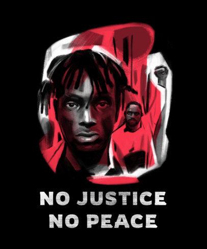 T-Shirt Design Template with a Black Justice Movement Portrait 4442b