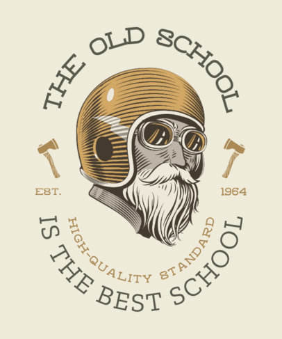 Illustrated T-Shirt Design Template Featuring a Bearded Biker With an Old Helmet 3817a