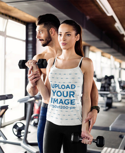 Camisole Tank Top Mockup of a Woman Training with Her Boyfriend 41206-r-el2