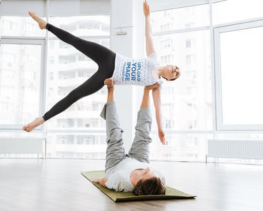 T-Shirt Mockup of a Woman Doing Acro Yoga 37834-r-el2