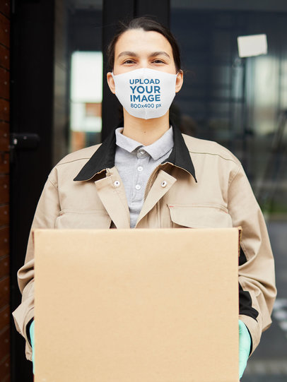 Face Mask Mockup of a Delivery Woman with a Package 44172-r-el2
