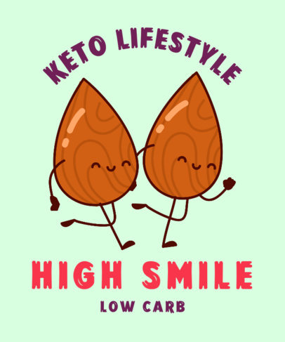 T-Shirt Design Template for a Keto Lifestyle Enthusiast with Two Almond Nuts 3828f