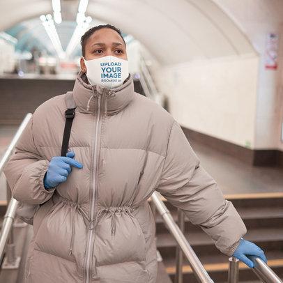 Face Mask Mockup Featuring a Woman Wearing Winter Wear 46695-r-el2