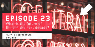 Twitter Post Maker Promoting a Podcast About the Future of Film 4122e-el1