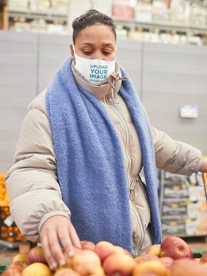 Face Mask Mockup of a Woman Shopping Fruits 46730-r-el2
