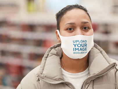 Mockup of a Woman Wearing a Face Mask at a Convenience Store 46656-r-el2