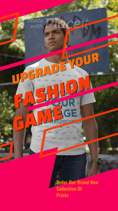 T-Shirt Video Featuring a Young Man and Modern Graphics 3514v-el1