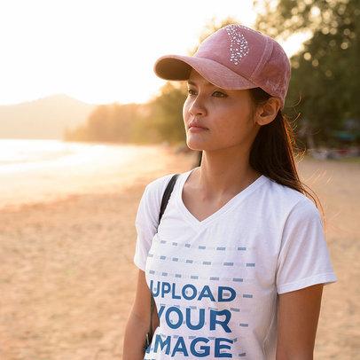 T-Shirt Mockup of a Woman Taking a Walk by the Sea m10092-r-el2
