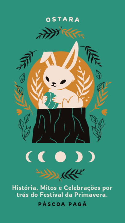 Instagram Story Design Maker Featuring a Hare Illustration to Celebrate Pagan Easter 3834e