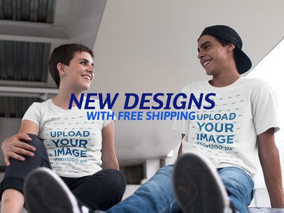 Facebook Ad - Happy Young Couple Talking Under a Bridge Wearing T-Shirts a16447
