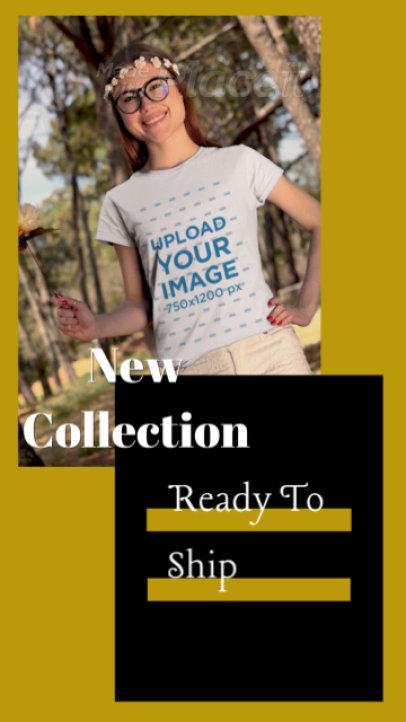 T-Shirt Video of a Woman Promoting a Spring Apparel Collection 3518v-el1