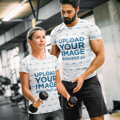 Mockup of a Man and a Woman Wearing Sublimated T-Shirts at the Gym 41212-r-el2