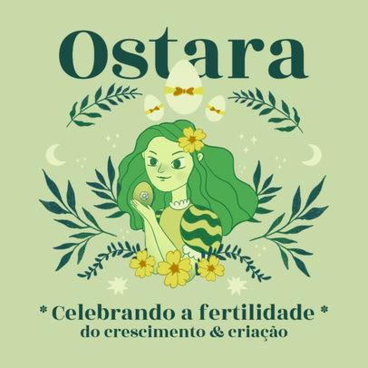 Illustrated Instagram Post Template to Celebrate Ostara 3837a