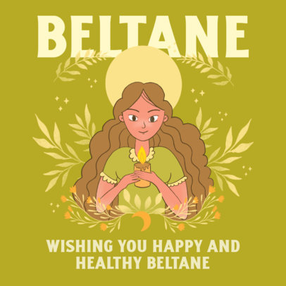 Illustrated Instagram Post Template to Celebrate Beltane Featuring a Woman With a Candle 3837g