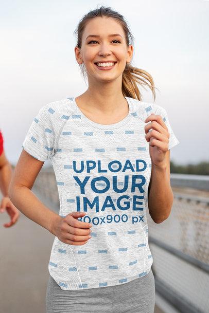 Sublimated tee Mockup of a Happy Woman Running 41529-r-el2