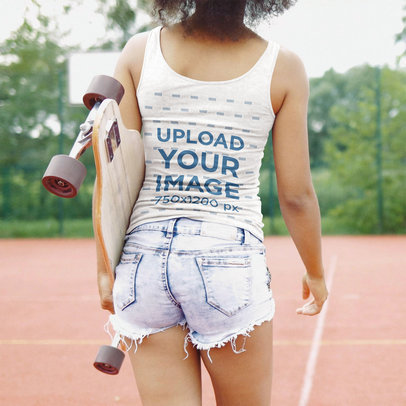 Tank Top Mockup the Back of a Woman Ready to Skate at a Park 39976-r-el2