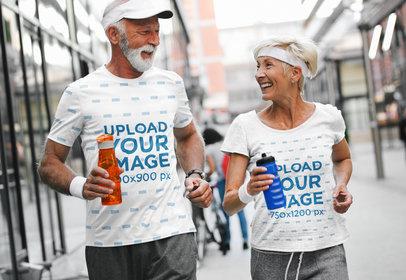 T-Shirt Mockup of a Senior Couple Jogging in the City 41813-r-el2