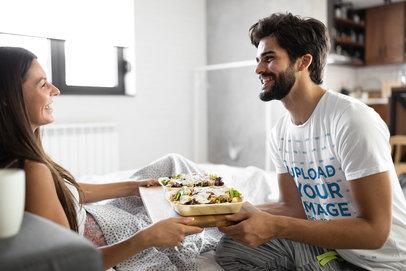 T-Shirt Mockup of a Man Bringing Food to His Girlfriend in Bed 42658-r-el2