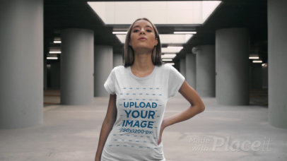 T-Shirt Video of a Woman Posing in an Empty Parking Lot 3466v