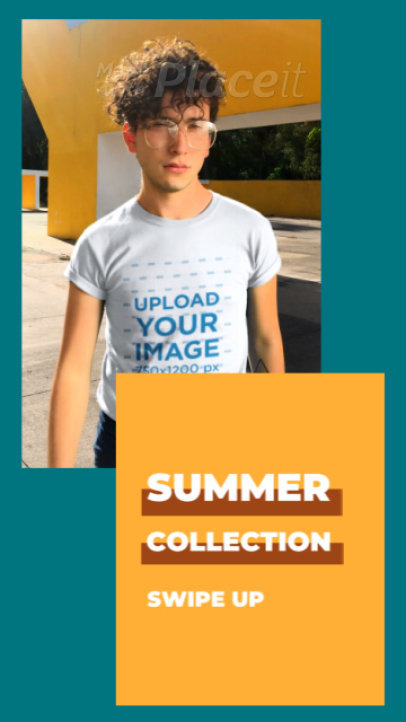 T-Shirt Video Featuring a Man Promoting a Summer Apparel Collection 3520v-el1