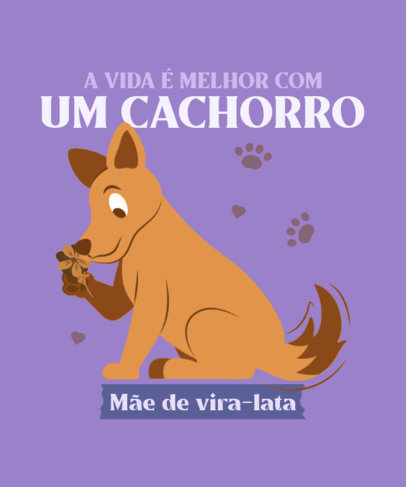 T-Shirt Design Creator Featuring a Vira-Lata Dog and a Quote 3840a