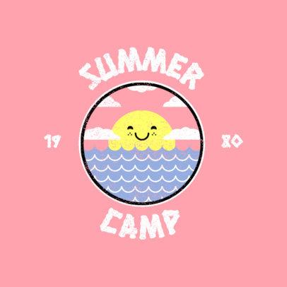Summer Camp Logo Template Featuring a Cute Sun Graphic 4484a