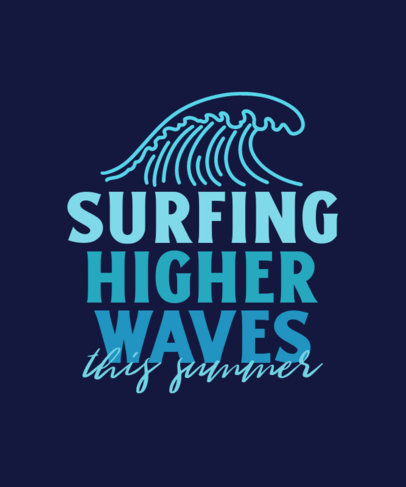 T-Shirt Design Generator for Surfing Enthusiasts Featuring a Wave Clipart 3843e