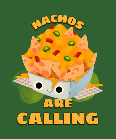 T-Shirt Design Template for Junk Food Day with a Happy Box of Nachos 3848g