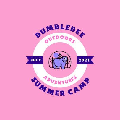 Summer Camp Logo Maker Featuring a Bear Graphic 4480D