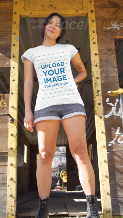 T-Shirt Video of a Young Woman in a Cool Setting 3428v