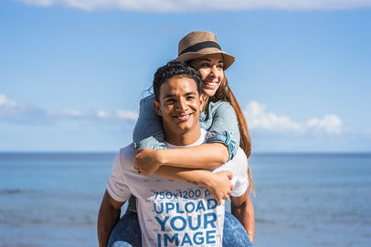 T-Shirt Mockup Featuring a Man at the Beach With His Girlfriend M10379-r-el2