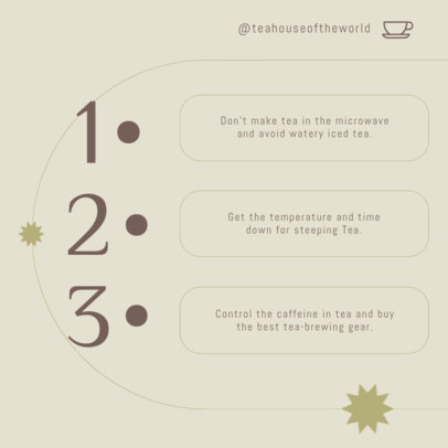 Instagram Post Design Template Featuring Tips for Making Tea 4142d-el1