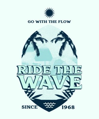 Retro T-Shirt Design Template Featuring Beach-Themed Illustrations 3844p