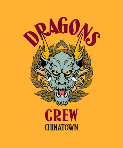 T-Shirt Design Template With a Shenlong Illustration 3676a