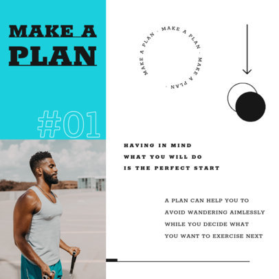 Instagram Post Template for a Fitness-Themed Carrousel 4149d-el1